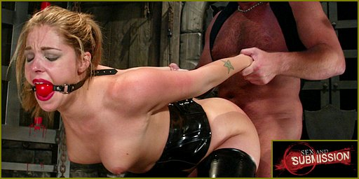 Sex And Submission banner photo: Holly Stevens gagged and pounded from behind, doggie style