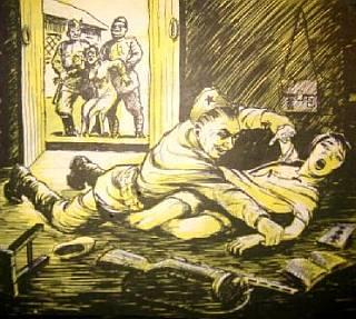 rape scene from propaganda leaflet