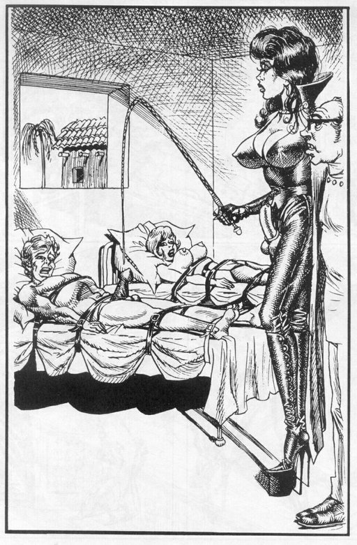 husband and wife tied side by side in separate beds being menaced by a dominatrix with a whip; husband has huge erection