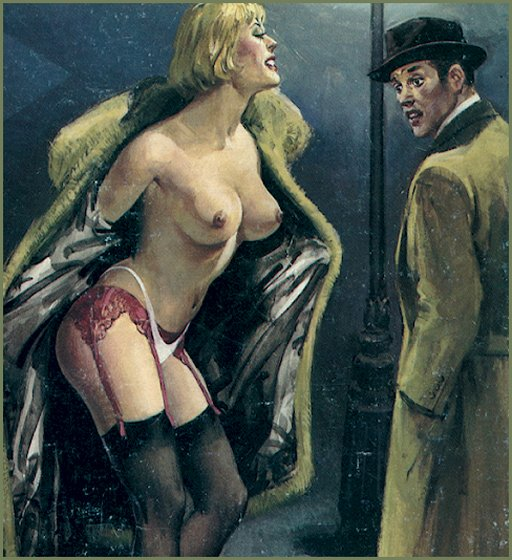 sex working flashing a startled potential costumer by opening her luxurious furs on a cold winter street
