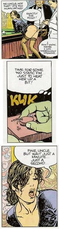 panels from Milo Manara\'s comic Click