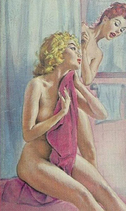 lesbian shower sharing pulp novel cover
