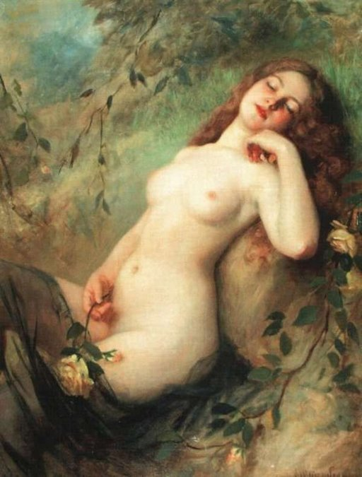 dreamy nude rubbing her pussy with a thorny rose