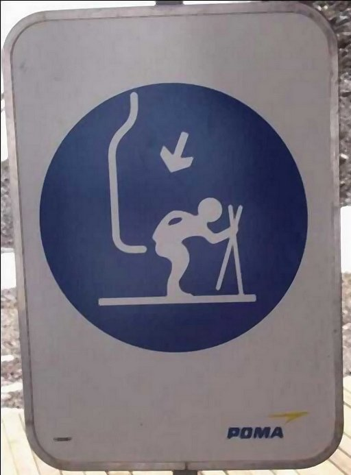 funny sign offering suprise buttsex from the ski chair lift hook