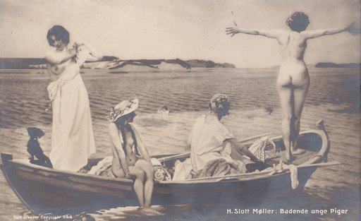 vintage postcard of four women stripping nude and diving out of a boat to go swimming naked