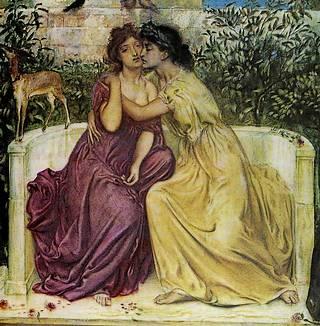 Simeon Solomon\'s Sappho and Erinna in a Garden at Mytilene