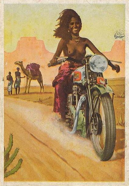 vintage motorcyle advertising featuring topless somali woman