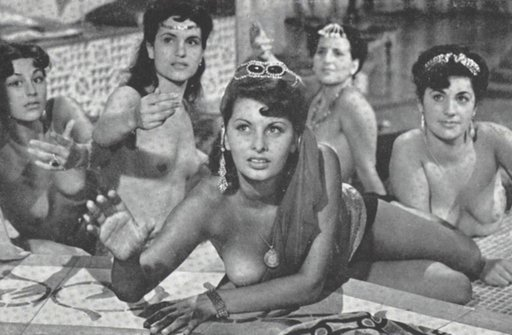 Sophia Loren and her harem slavegirl homies topless and lounging semi-nude