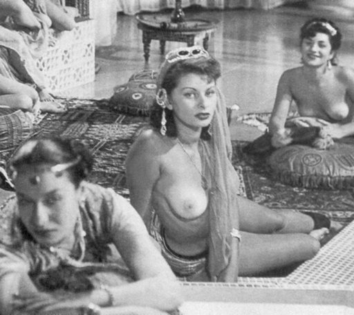 Sophia Loren topless in nude harem girls scene