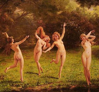 naked girls frolicking in a forest clearing