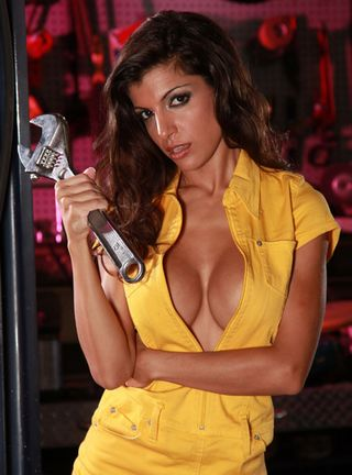 Donna with a big wrench