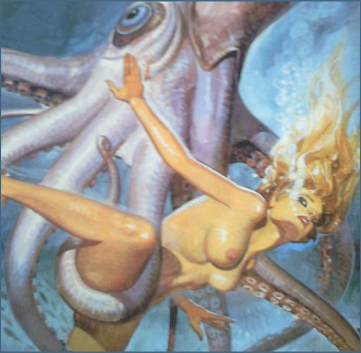 helpless nude woman swimmer in tentacles of a giant squid