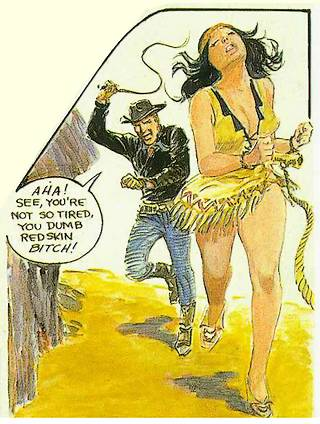 Sheriff Sam berates and whips his bound Indian wife Red Gazelle. This will prove to be a bad idea.