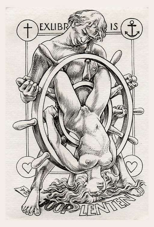 anal sex erotic bookplate art