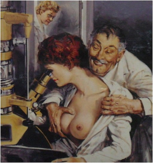 busty woman scientist being groped as she peers into a microscope
