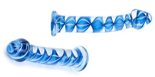blue ribbon art glass dildo sex toy