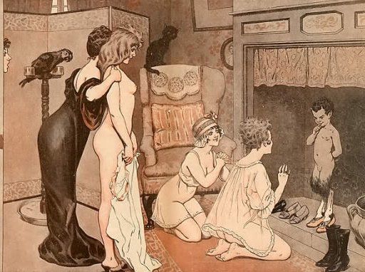 naked girl being presented to a smirking faun in the hearth, wtf?