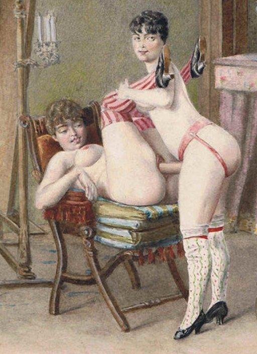 vintage lesbian erotic pegging art