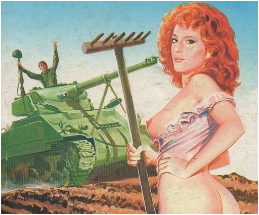 pretty peasant partisan with bare tits distracting a tank driver