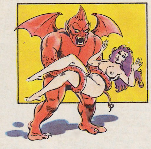tentacle-armed gargoyle carrying a naked woman