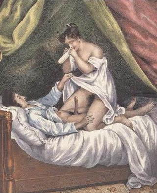 """woman blowing up a \""""french letter\"""" before putting it on her lover"""