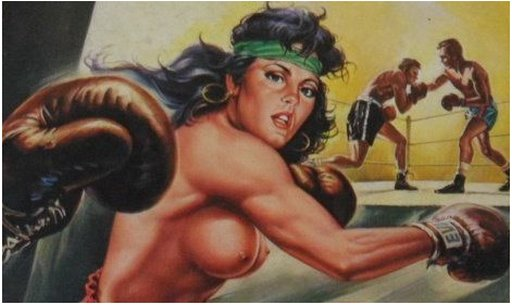 female boxer with bare breasts and boxing gloves