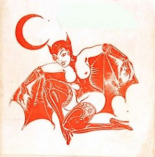 bare breasted french bat girl art