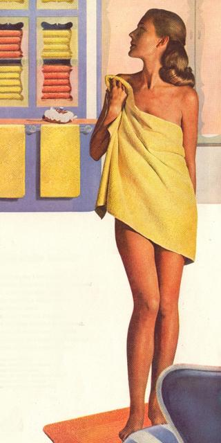 freshly showered housewife wearing nothing but a towel