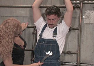 eddy the plumber in handcuffs and overalls