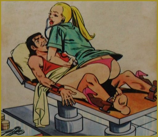 blonde femdom nurse with happy man strapped to table using her stethoscope on his genitals