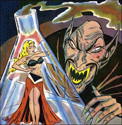 vampire ghoul menaces sexy woman caught in his test tube flask
