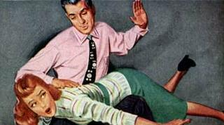 spanking detail from vintage shirt ad