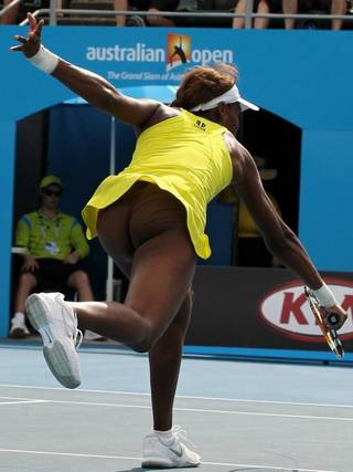 tennis star Venus Williams wearing almost invisible flesh-colored panties