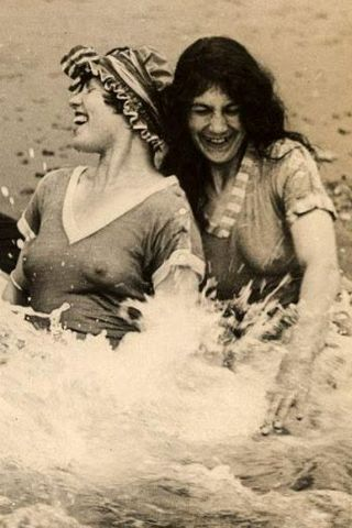 vintage beach scene, with nipples