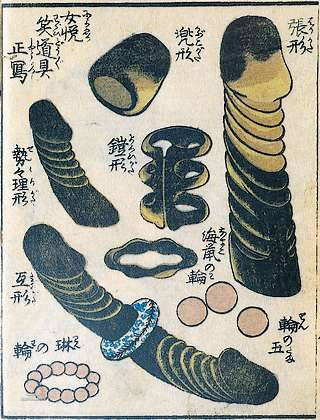 vintage asian sex toys illustration or catalog