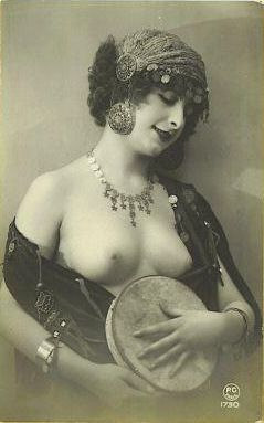 french nude with tambourine