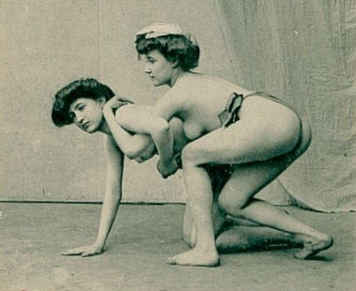 vintage postcard women wrestling naked or at least topless