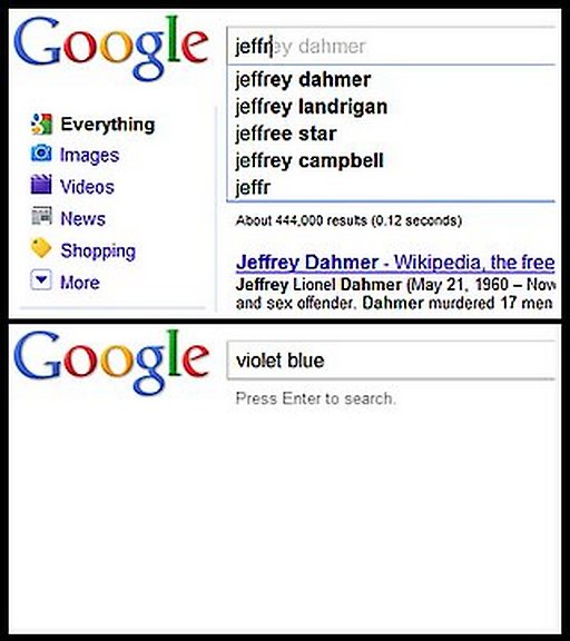 no Gooogle autocomplete for Violet Blue