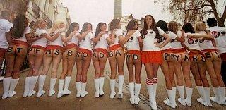 A dozen cheerleaders mooning British Telecom on behalf of Virgin Media