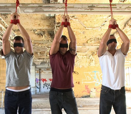 Visconti triplets tied up and blindfolded