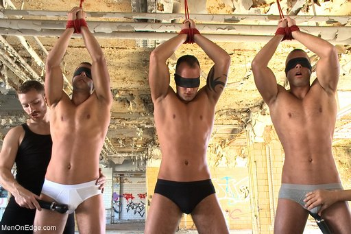 masturbating the Visconti brothers through their underwear with powerful cordless vibrators