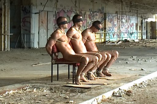 Visconti triplets tied naked in chairs and left in an abandoned Berlin warehouse