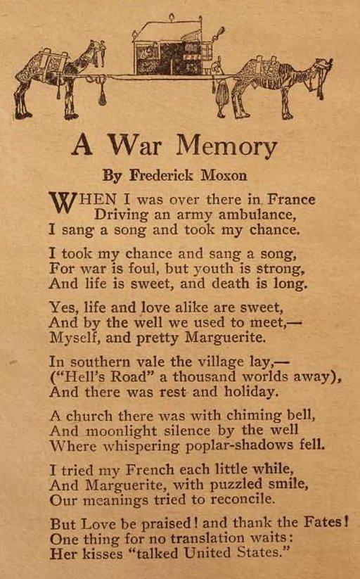 a war memory - poem
