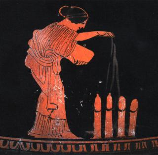 woman watering phalluses