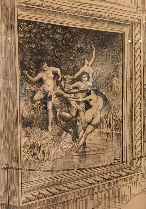 framed cartoon version of nymphs and satyrs