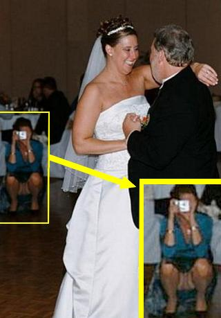 woman taking picture and accidentally displaying her pussy at a wedding