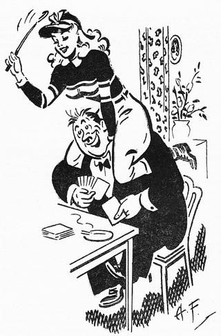 happy man playing cards while being ridden by a woman with a riding crop