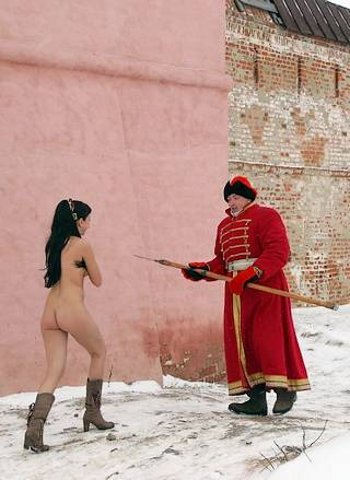 naked girl distracting a patrolling guard