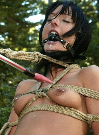 gagged woman in rope bondage strains to see the cattle prod approaching her exposed breast