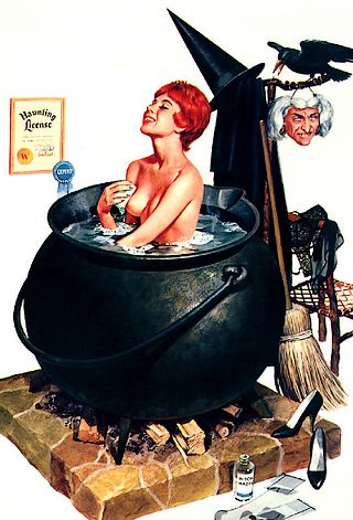 pretty young witch bathing in her own cauldron